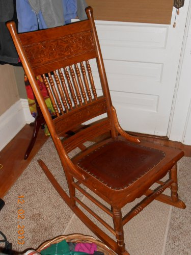 Antique Armless Rocker With Leather Seat