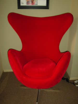 The egg chair by Arne Jacobsen.(reproduction
