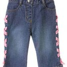 Love is in the Air Lace Up Ribbon Denim Pant sz 2T
