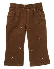 Pretty In Plums Brown Embroidered Velveteen Flare Pants sz 18-24 EUC