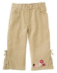 Pretty In Plums Khaki Ruffle Hem Squirrel Flare Pant sz 18-24 EUC