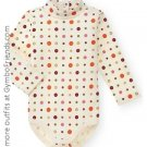 Cute As A Button Button Print Tneck Bodysuit 3-6 mo LN