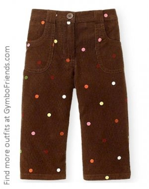 Cute As Button Brown Courdoroy pants 3-6 mo LN