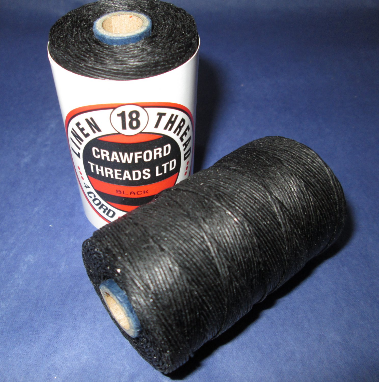 Waxed Linen Thread No 18 4 Cord Black Colour