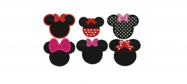Minnie Mouse Head Ears 6 embroidery patterns Digitized Machine Embroidery Designs Pack