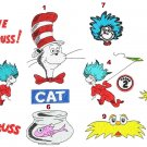 Cat in the Hat Thing 1 2 Sneetch design Pack 9 Digitized Machine Embroidery Designs