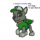 6 Paw Patrol Dog Zuma Chase Skye Rubble Marshall Rocky 5x7 SIZE Digitized Machine Embroidery Designs