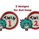 Thing Twin 1 Twin 2 Filled Machine embroidery designs Email Delivery Only