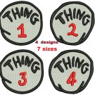 4 designs: Thing 1 Thing 2 Thing 3 Thing 4 Filled Machine embroidery designs Email Delivery Only