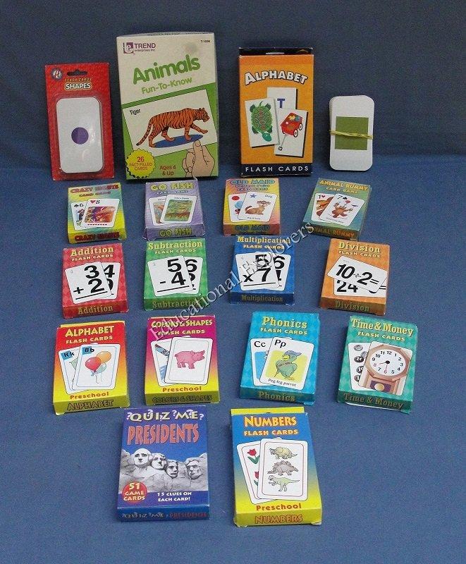 Flash Cards Lot  Alphabet Presidents Math Phonics Shapes Colors Numbers 18 Sets