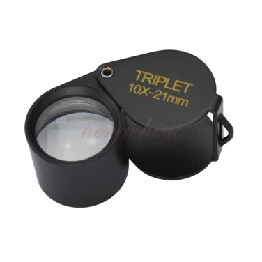 10X 21MM Jewelry Diamond Gemstone Gem Triplet Loupe Foldable Eye Magnifier Glass Lens, Free Shipping