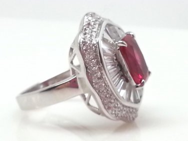 Size 7 Ruby .925 Sterling Silver Rhodium Plated Ring with CZ Baguettes and Paves
