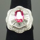 Size 7.5 Ruby .925 Sterling Silver Rhodium Plated Ring with CZ Baguettes and Paves