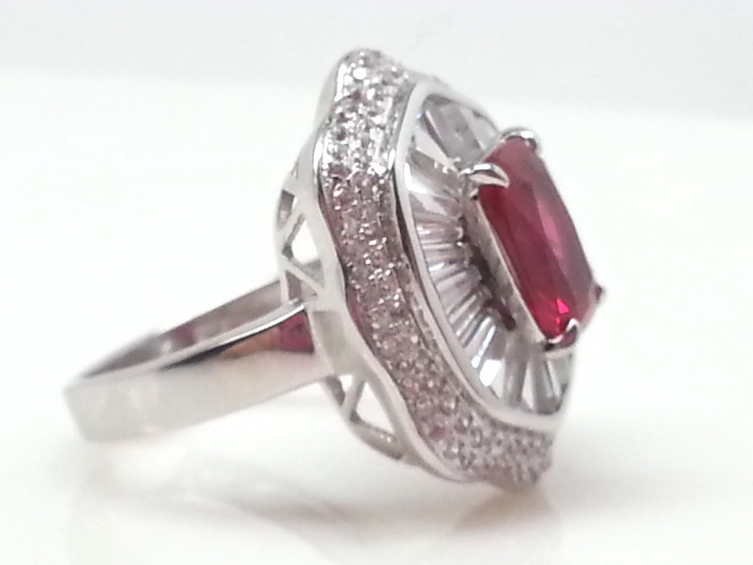 Size 8.5 Ruby .925 Sterling Silver Rhodium Plated Ring with CZ Baguettes and Paves
