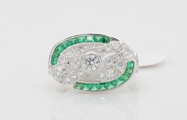 Size 6 - .925 Sterling Silver Antique Reproduction Ring w/CZ Center & Genuine Emeralds - RH Plated
