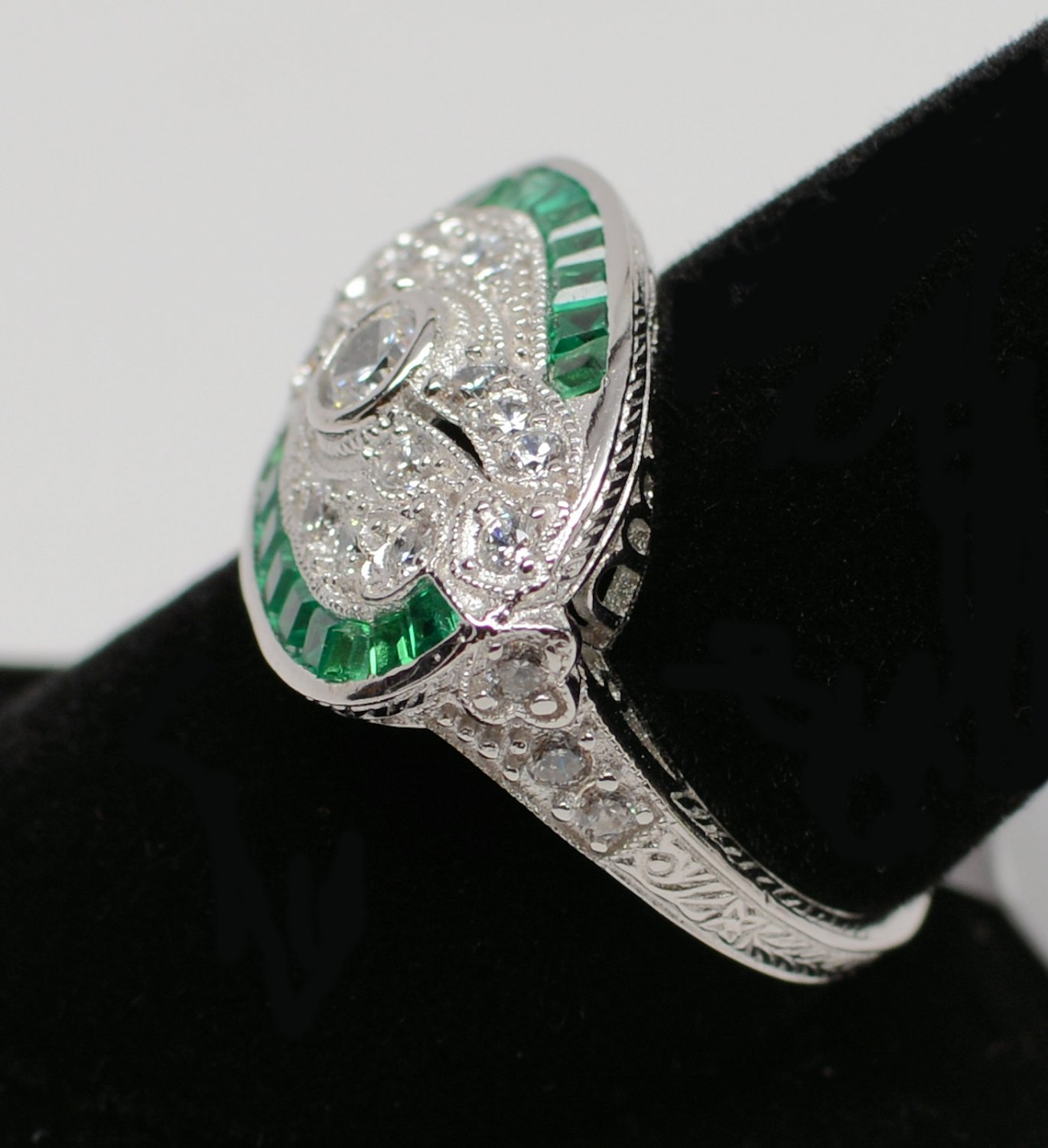 Size 7 - .925 Sterling Silver Antique Reproduction Ring w/CZ Center & Genuine Emeralds - RH Plated