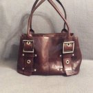 Vtg WILSONS LEATHER Pelle Studio Red Leather Satchel Tote Purse Bag Bucket Bag