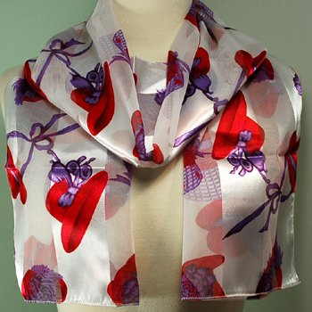 Silk Scarf  White - Red Hatter Scarf