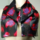 Silk Scarf  Black - Red Hatter Scarf