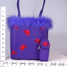 Feather Trim Purple Purse