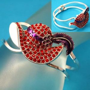 RED HAT SILVER HINGE BANGLE