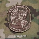 PROTECT US SAINT MICHAEL - MULTICAM TACTICAL BADGE MORALE VELCRO MILITARY PATCH