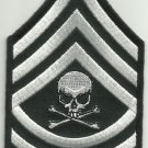 MASTER SERGEANT DEATH SKULL ARM RANK INSIGNIA BIKER MORALE MILITARY PATCH