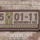 5-01-11 NEVER FORGETS DESERT TACTICAL OIF BADGE MORALE PVC VELCRO MILITARY PATCH