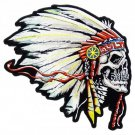 FEATHERED INDIAN CHIEF HEAD DEATH SKULL MOTORCYCLE JACKET VEST BIKER PATCH