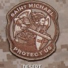 PROTECT US SAINT MICHAEL - DESERT - TACTICAL BADGE MORALE VELCRO MILITARY PATCH
