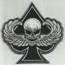 SPADES DEATH SKULL WITH WINGS MOTORCYCLE JACKET BIKER VEST MILITARY PATCH - SWAT