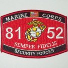 8152 SECURITY FORCES US Marine Corps MOS Military Patch - SEMPER FIDELIS