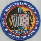 VA-145 NAVY ATTACK SQUADRON MILITARY PATCH RUSTLER'S LAST RIDE AROUND THE HORN