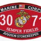 "USMC ""AVIATION STOREKEEPER"" 3071 MOS MILITARY PATCH SEMPER FIDELIS MARINE CORPS"