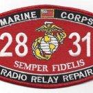 """USMC """"RADIO RELAY REPAIR"""" 2831 MOS MILITARY PATCH SEMPER FIDELIS MARINES"""