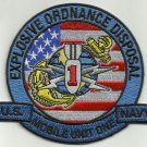 US NAVY EXPLOSIVE ORDNANCE DISPOSAL MOBILE UNIT ONE MILITARY PATCH EODMU 1