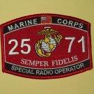 "USMC ""SPECIAL RADIO OPERATOR"" 25 71 SEMPER FIDELIS MILITARY MOS PATCH"