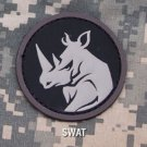 RHINO HEAD SWAT TACTICAL COMBAT BLACK OPS BADGE MORALE PVC VELCRO MILITARY PATCH
