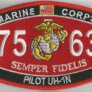 "USMC ""PILOT UH-1N"" 7563 MOS MILITARY PATCH SEMPER FIDELIS MARINE CORPS"