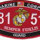 "USMC ""GUARD"" 8151 MOS MILITARY PATCH SEMPER FIDELIS MARINE CORPS"
