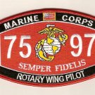 "USMC ""ROTARY WING PILOT"" 7597 MOS MILITARY PATCH SEMPER FIDELIS MARINE CORPS"