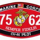 "USMC ""CH-46 PILOT"" 7562 MOS MILITARY PATCH SEMPER FIDELIS MARINE CORPS"