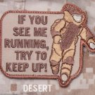 EOD RUNNING - DESERT  TACTICAL COMBAT BADGE OIF OEF MORALE VELCRO MILITARY PATCH