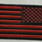 RED & BLACK REVERSED AMERICAN FLAG MOTORCYCLE JACKET BIKER VEST MILITARY PATCH