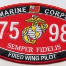 """USMC """"FIXED WING PILOT"""" 7598 MOS MILITARY PATCH SEMPER FIDELIS MARINE CORPS"""