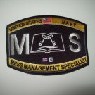 United States Navy MESS MANAGEMENT SPECIALIST Ratings Patch -MS- Military Patch
