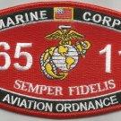 "USMC ""AVIATION ORDNANCE"" 6511 MOS MILITARY PATCH SEMPER FIDELIS MARINE CORP"