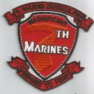 USMC MAGNIFICENT 7th MARINES REGIMENT  -  MILITARY PATCH - PREPARED TO FIGHT