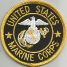 ***UNITED STATES MARINE CORPS (BLCK/GOLD)  MILITARY PATCH***