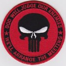 PUNISHER GOD WILL JUDGE OUR ENEMIES SEAL BLACK & RED MILITARY PATCH